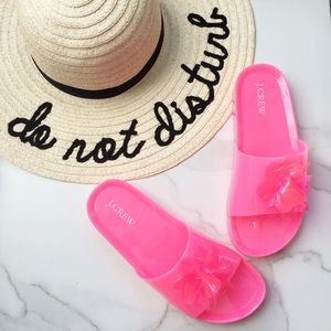 J. Crew pink flower pool slide sandals